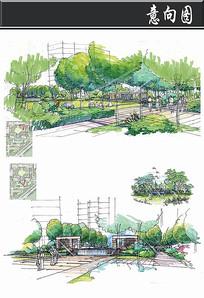 长方形小区私家花园手绘图 JPG