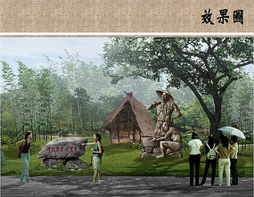 茶农雕塑效果图