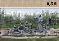 茶铺雕塑效果图
