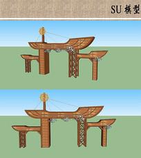 创意船式木制农庄大门SU模型