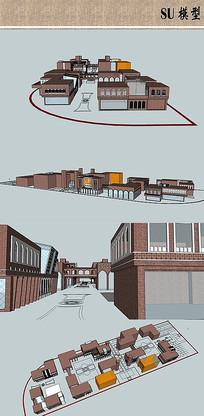 风情商业街建筑模型