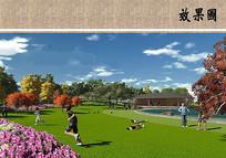 公园草坪效果图