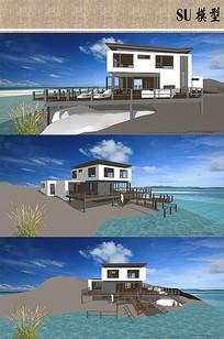 海景房精美别墅建筑模型