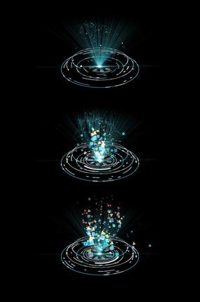 蓝色触屏投影视频带透明通道 科技hud圆圈面板带透明通道 科技hud面板