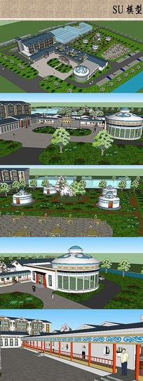 蒙古风格度假酒店模型