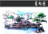 某特色居住区公共硬制河道手绘