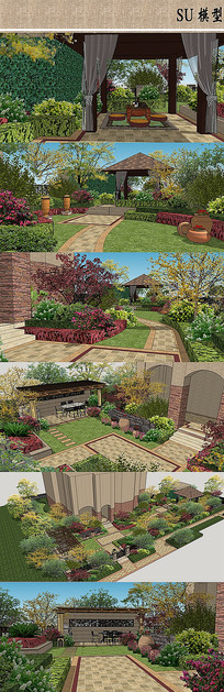 欧式风格景观庭院设计SU模型