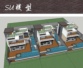 水景酒店别墅SU