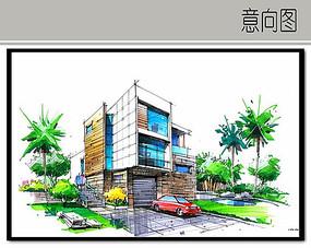 现代别墅手绘效果图
