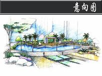 现代风住宅景观水墙手绘