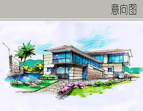 现代建筑景观手绘图