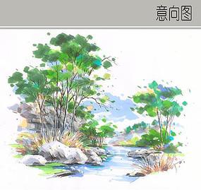 小溪水景手绘图