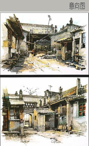 乡村街道手绘图