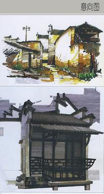 小镇民居手绘