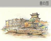 小镇水景手绘图 JPG