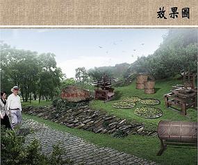 制茶工具雕塑效果图 JPG
