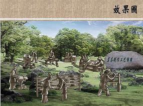 制茶人物雕塑效果图 JPG
