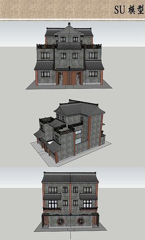 中式建筑模型