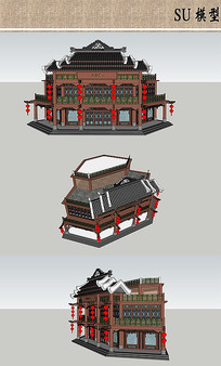 中式酒楼建筑模型