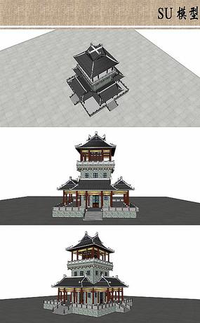 中式塔楼古建模型