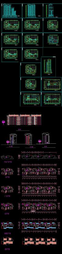 中式小区高层建筑图纸 dwg
