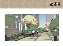 住宅区道路景观效果图