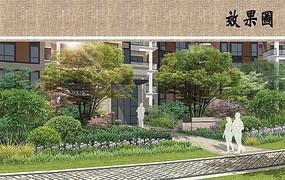 住宅区绿化效果图