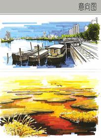 自然水景风光手绘图