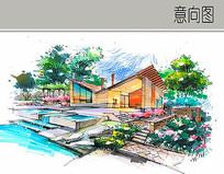 V型木屋建筑景观手绘图