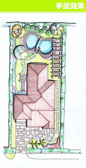 别墅方案手绘平面图