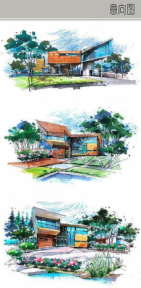 别墅花园景观手绘