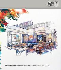 别墅客厅手绘效果图 JPG