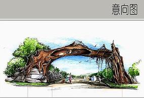 创意公园入口手绘图 JPG