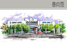 大学图书馆建筑立面