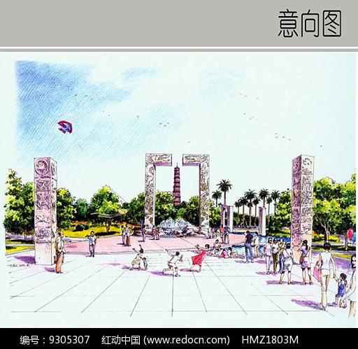 广场雕刻石柱手绘图图片