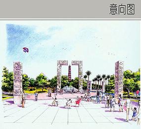 广场雕刻石柱手绘图