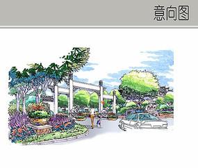 古典公园入口效果图