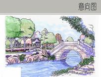 古典园林桥边景观