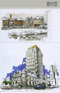简欧建筑手绘图