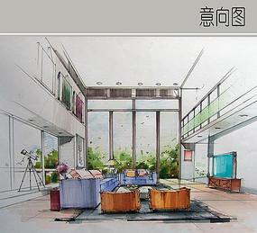 客厅手绘效果图设计图片