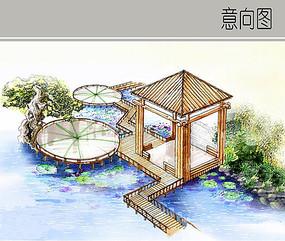 景观亭廊手绘 效果图