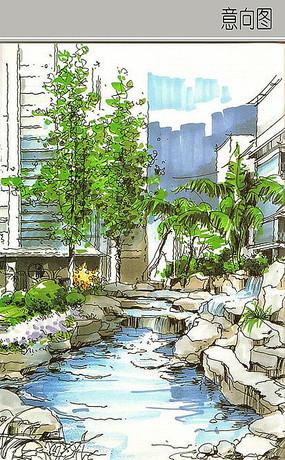 庭院景观手绘图