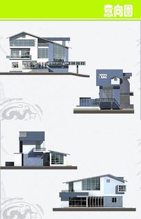 中式别墅立面图
