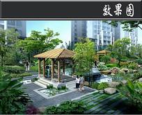 中式住宅小区景观亭效果图