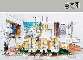 住宅餐厅手绘透视图