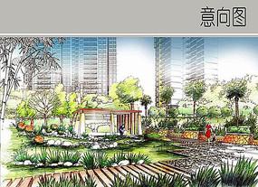 住宅区景观手绘图