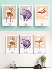 北欧风格渲染动物无框画