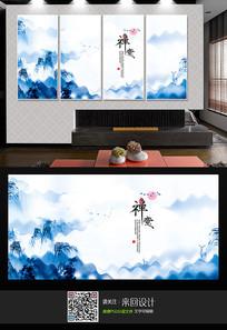 创意蓝色水墨背景墙装饰画