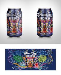 开心啤酒手绘卡通包装 AI