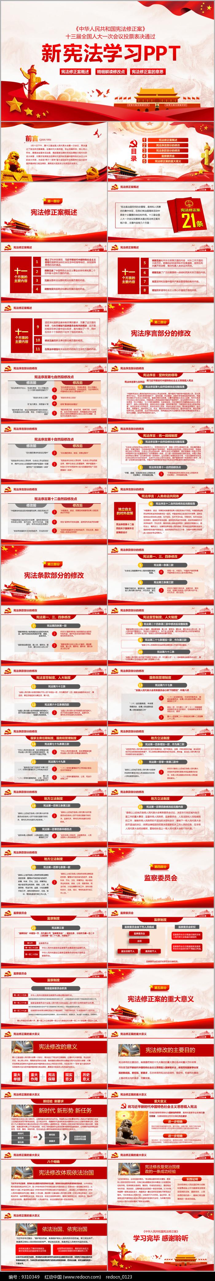 新宪法PPT中共中央宪法修改PPT图片